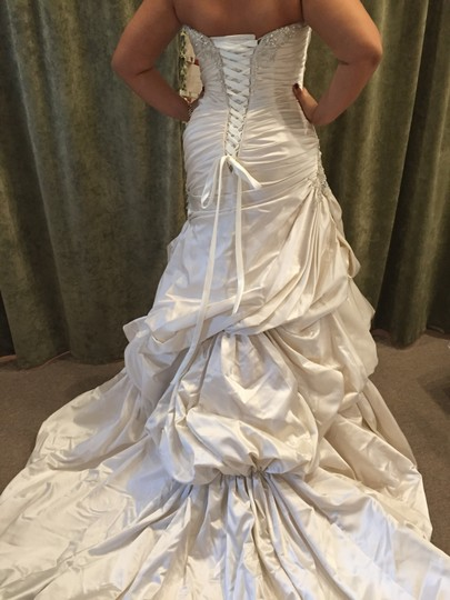 Maggie Sottero Champagne Mist Satin Raylene Louise Formal Wedding Dress Size 14 (L)