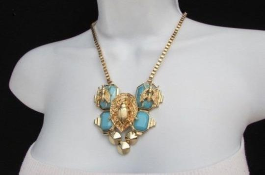 Other Women Trendy Fashion Necklace Gold Chain Flies Bug Blue Black Bead Earring