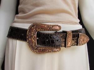 Other Women Belt Brown Leather Western Fashion Gold Rhinestones Big Buckle 32-36
