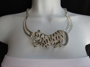 A Women Silver Chain Big Tiger Body Panther Metal Fashion Necklace Earrings