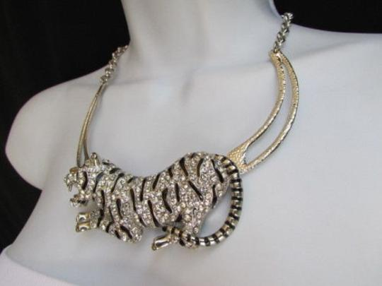 Other A Women Silver Chain Big Tiger Body Panther Metal Fashion Necklace Earrings