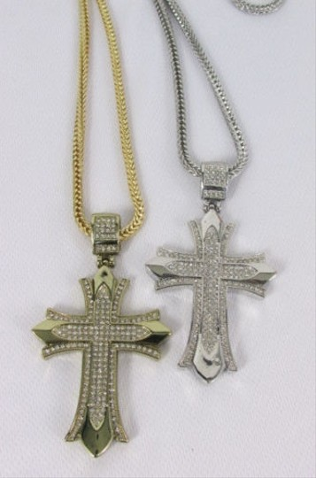 Other A Men Metal Chain 35 Long Fashion Necklace Silver Gold Cross Pendant