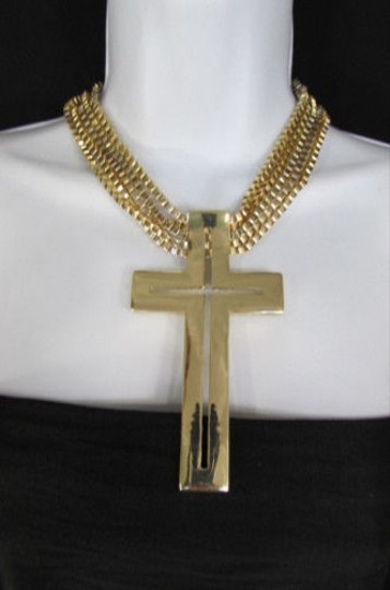 Other A Women Gold Metal Multi Chains Statement Necklace Chunky Big Cross Pendant