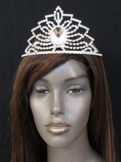 Women Crown Silver Head Hair Fashion Tiara Rhinestones Pagent Wedding