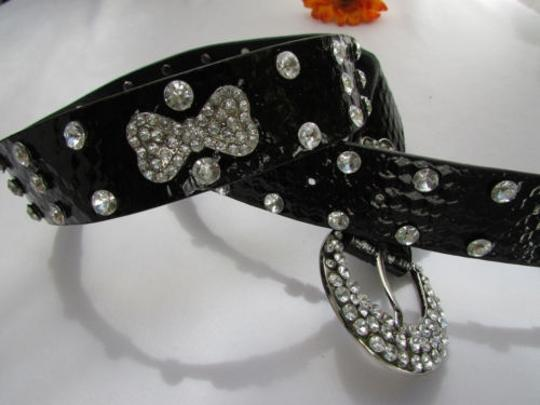 Other A Women Faux Leather Western Black Belt Big Bows Silver Beads Buckle 37-42