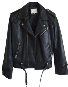 IRO Leather Leather Moto Fringe Biker Black Jacket