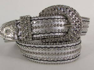 Women Western Fashion Silver Leather Belt Rhinestones Metal Buckle