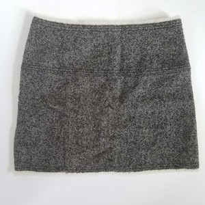 J.Crew Wool Tweed Fringe Mini Skirt Black and White