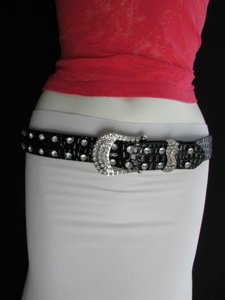Women Faux Leather Western Black Belt Flower Silver Beads Buckle 28-33
