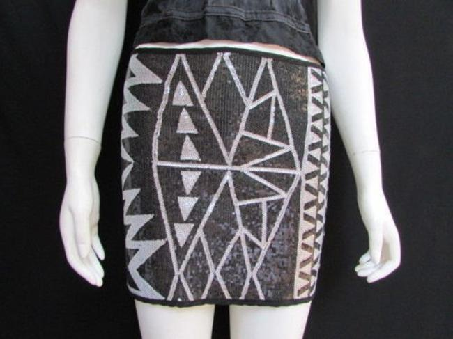 Other A Women Silver Sequins Party Fashion Elastic Mini Skirt Blacks