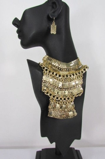 Other A Fashion Women Bib Necklace Earring Set Gold Metal Thick Wide Link Chains