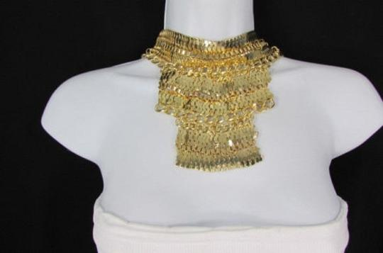 Other A Fashion Women Bib Necklace Earring Set Gold Metal Thick Wide Link Chains Image 1