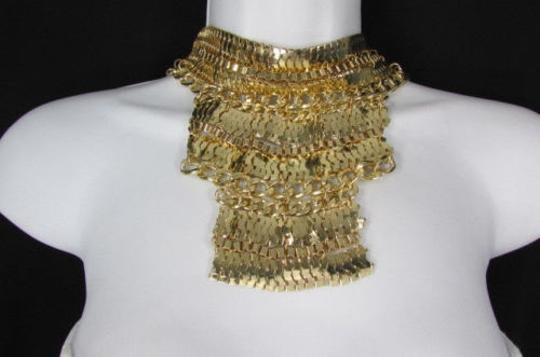 Other A Fashion Women Bib Necklace Earring Set Gold Metal Thick Wide Link Chains Image 11