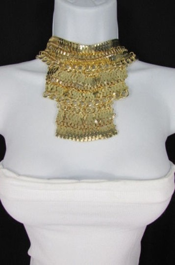 Other A Fashion Women Bib Necklace Earring Set Gold Metal Thick Wide Link Chains Image 3