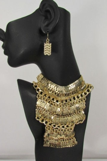 Other A Fashion Women Bib Necklace Earring Set Gold Metal Thick Wide Link Chains Image 4