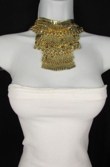 Other A Fashion Women Bib Necklace Earring Set Gold Metal Thick Wide Link Chains Image 5