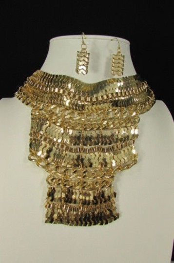Other A Fashion Women Bib Necklace Earring Set Gold Metal Thick Wide Link Chains Image 6