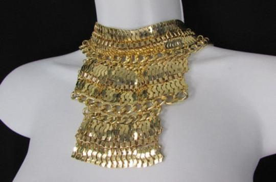 Other A Fashion Women Bib Necklace Earring Set Gold Metal Thick Wide Link Chains Image 7