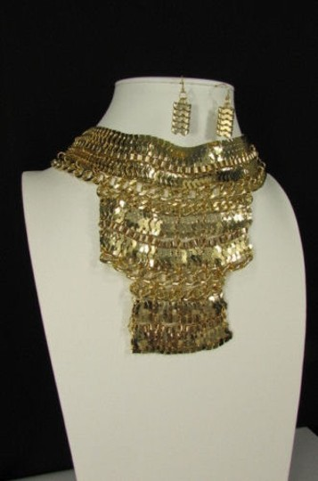 Other A Fashion Women Bib Necklace Earring Set Gold Metal Thick Wide Link Chains Image 9