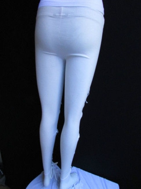 Other Women Trendy Off White Fashion Leggings Ties Stitches 32 Capri/Cropped Pants Ivories Image 11