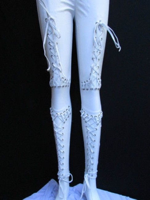 Other Women Trendy Off White Fashion Leggings Ties Stitches 32 Capri/Cropped Pants Ivories Image 2