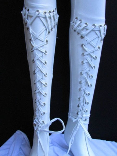 Other Women Trendy Off White Fashion Leggings Ties Stitches 32 Capri/Cropped Pants Ivories Image 3