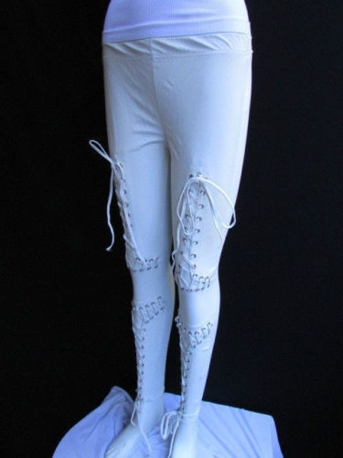 Other Women Trendy Off White Fashion Leggings Ties Stitches 32 Capri/Cropped Pants Ivories Image 4