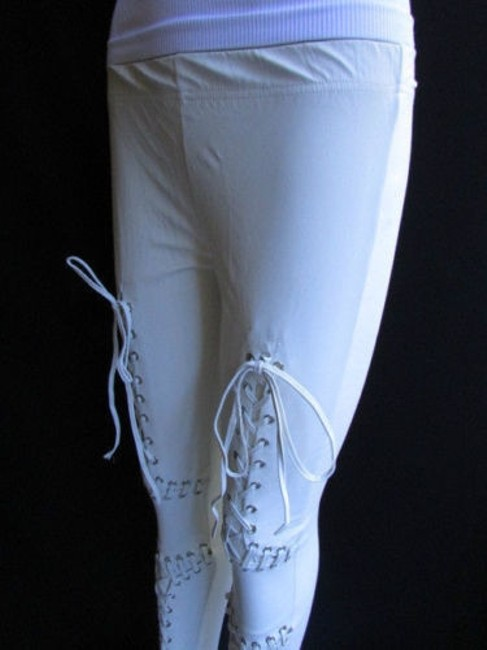 Other Women Trendy Off White Fashion Leggings Ties Stitches 32 Capri/Cropped Pants Ivories Image 5