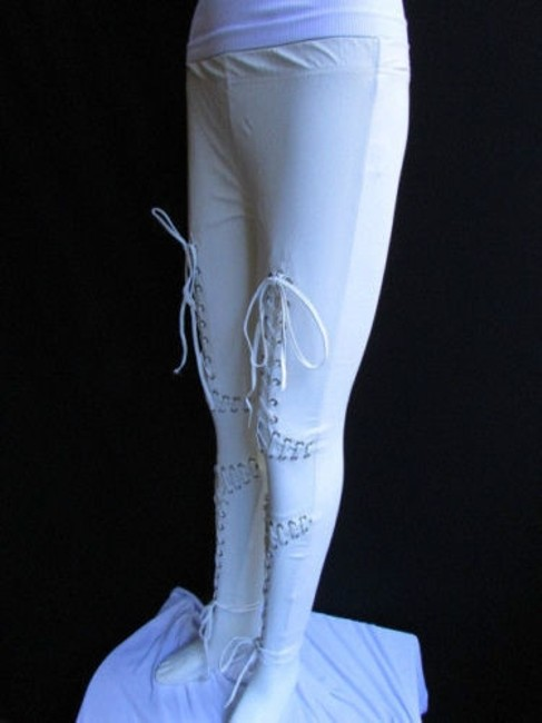 Other Women Trendy Off White Fashion Leggings Ties Stitches 32 Capri/Cropped Pants Ivories Image 6