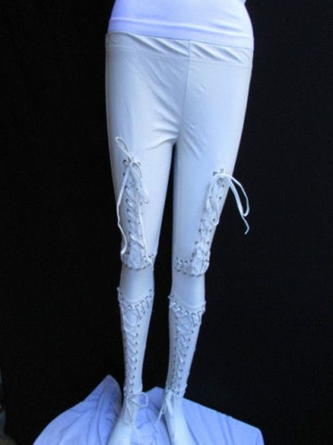 Other Women Trendy Off White Fashion Leggings Ties Stitches 32 Capri/Cropped Pants Ivories Image 7