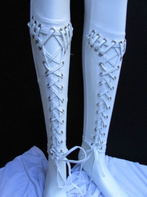 Other Women Trendy Off White Fashion Leggings Ties Stitches 32 Capri/Cropped Pants Ivories Image 8