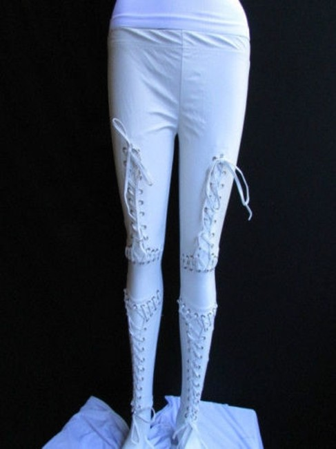 Other Women Trendy Off White Fashion Leggings Ties Stitches 32 Capri/Cropped Pants Ivories Image 9