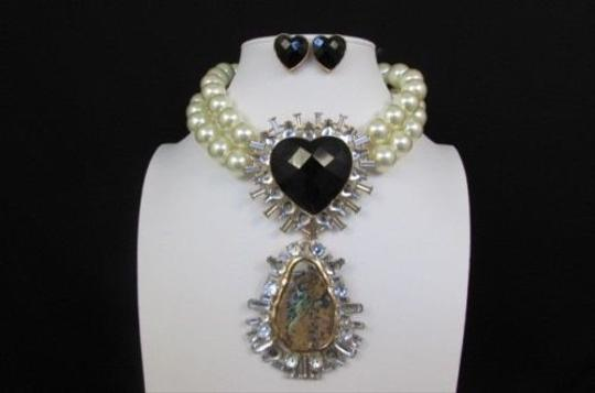 Other Women Fashion Necklace Big Pearl Beads Strands Big Black Heart Stone Scarve Pin