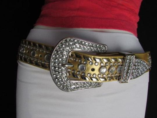 Other A Women Gold Faux Leather Western Belt Silver Rhinestones Buckle 37-42