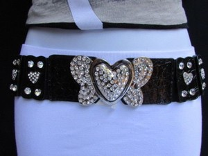 Other A Women Elastic Black Western Belt Big Hearts Buckle Rhinestones 27-35 Sm