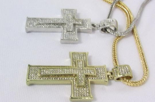 Other A Men Metal Chain 35 Long Fashion Necklace Silver Gold 3d Cross Pendant