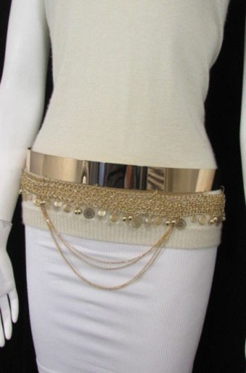 Other Women Fashion Gold Metal Plate Chains Belt Flowers Coin Hip Waist 27-35