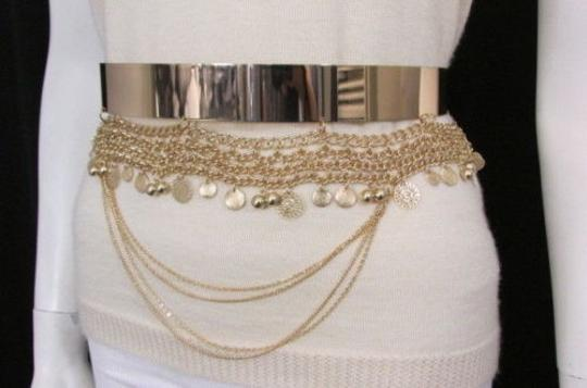 Other Women Fashion Gold Metal Plate Chains Belt Flowers Coin Hip Waist 27-35 Image 11