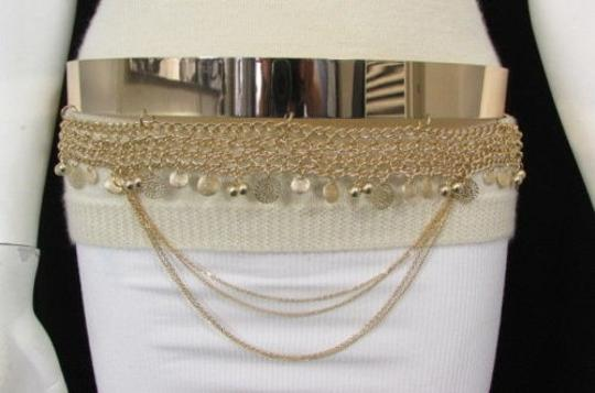 Other Women Fashion Gold Metal Plate Chains Belt Flowers Coin Hip Waist 27-35 Image 2