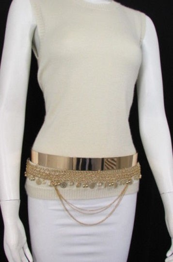 Other Women Fashion Gold Metal Plate Chains Belt Flowers Coin Hip Waist 27-35 Image 3