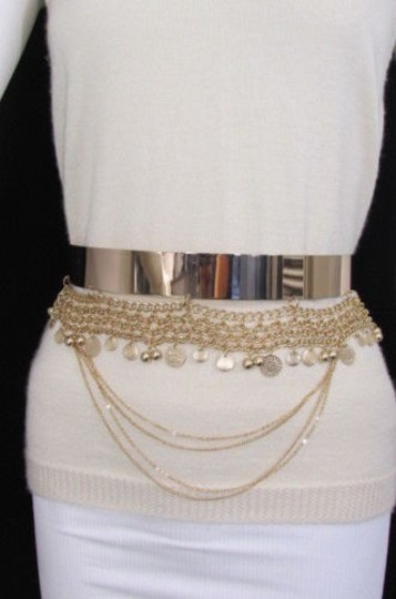 Other Women Fashion Gold Metal Plate Chains Belt Flowers Coin Hip Waist 27-35 Image 5