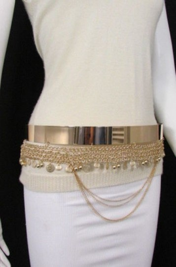 Other Women Fashion Gold Metal Plate Chains Belt Flowers Coin Hip Waist 27-35 Image 7