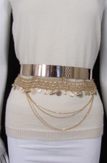 Other Women Fashion Gold Metal Plate Chains Belt Flowers Coin Hip Waist 27-35 Image 9