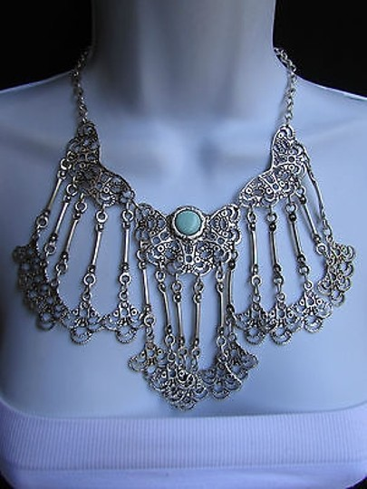 Other A Women Metal Plates Silver Statement Moroccan Style Fashion Necklace Handmade