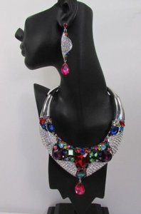 Fashion Women Bib Necklace Earrings Set Silver Metal Multicolor Alloy Charm