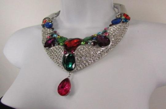 Other Fashion Women Bib Necklace Earrings Set Silver Metal Multicolor Alloy Charm