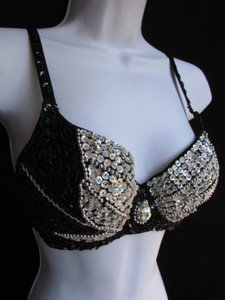 Other A Women Fashion Dance Bra Black Silver Sequins Bead Bralet Clubwear 34b Top Metallics
