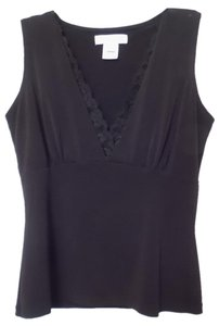 White House | Black Market Lace Crepe Knit Knit Tank Top Black