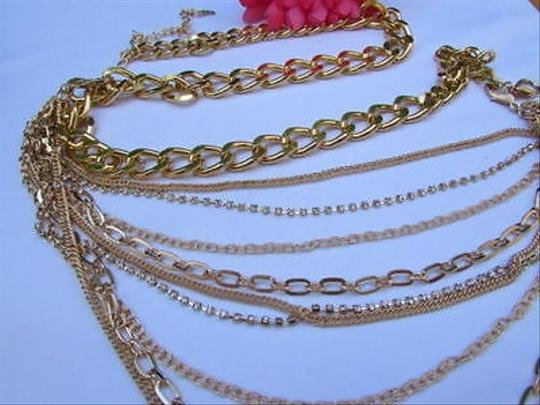 Other A Women Long Gold Multi Strand Stones Chains Fashion Necklace Metal Belt 28-40