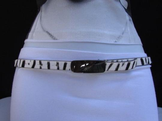 DKNY Dkny Women 0.5 Thin Black White Zebra Fashion Belt Pewter Buckle 31-35